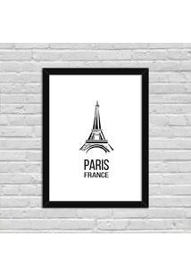 Quadro Decorativo Minimalista Paris France Preto - Médio