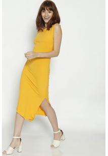 Vestido Assimã©Trico Canelado - Amarelo - Colccicolcci