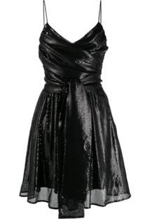 Msgm Sequins Cocktail Dress - Preto