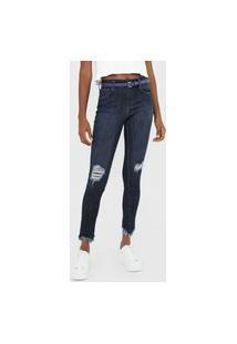 Calça Jeans Forum Skinny Destroyed Azul-Marinho