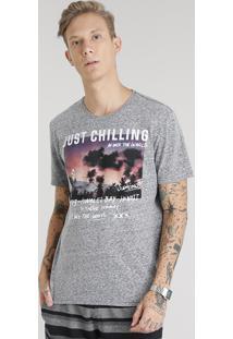 """Camiseta Masculina Mescla """"Just Chilling"""" Manga Curta Gola Careca Chumbo"""