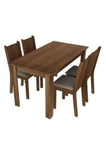 Conjunto Sala De Jantar Rosie Madesa Mesa Tampo De Madeira Com 4 Cadeiras Rustic/Crema/Pérola Rustic/Crema/Pérola
