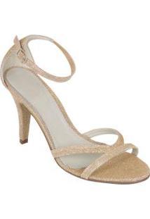 Sandália Dourada Com Lurex E Glitter