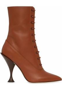 Burberry Ankle Boot Com Amarração - Marrom