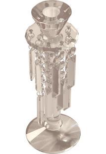 Castiçal De Cristal Pendente Pequeno Para 1 Vela