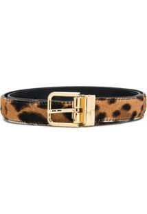 Dolce & Gabbana Cinto Ajustável Com Estampa De Leopardo - Marrom