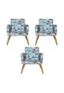 Conjunto 3 Poltronas Decorativas Nina Triângulo Azul