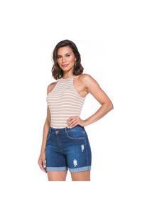 Bermuda Jeans Bolso-Faca Lúcia Figueredo Cintura Alta Barra Virada Azul
