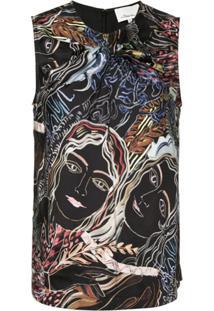 3.1 Phillip Lim Blusa Estampada 'Painted Ladies' - Preto