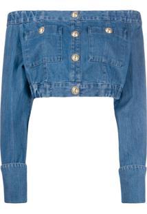 Balmain Blusa Cropped Com Botões - Azul