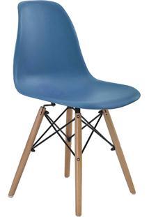 Conjunto 06 Cadeiras Eif.S/Branco Pp Azul Bali Base Madeira