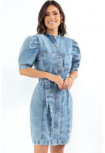 Vestido Jeans Curto Com Mangas Bufantes E Botões