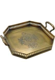 Bandeja Decorativa Btc Em Metal 5 X 22 X 18 Cm - Dourada