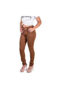Calça Jeans Feminina Caramelo Cintura Alta Skinny Memorize