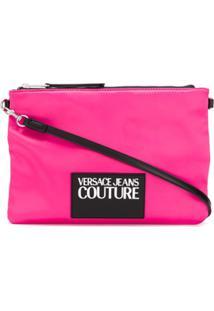 Versace Jeans Couture Clutch Com Patch De Logo - Rosa