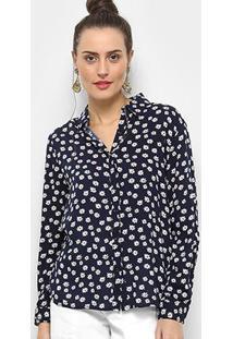 Camisa Facinelli Floral Pequeno Feminina - Feminino-Marinho