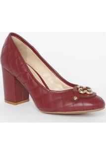 Sapato Tradicional Em Couro Matelassê- Bordô- Salto:Capodarte