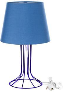 Abajur Torre Dome Azul Com Aramado Azul