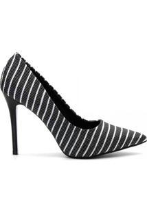 Scarpin Tecido Listras Salto Fino Preto - Feminino-Preto+Branco