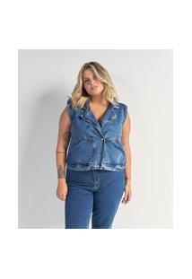 Colete Cropped Em Jeans Com Botões Curve & Plus Size | Ashua Curve E Plus Size | Azul | G