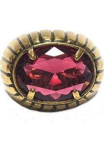 Anel Armazem Rr Bijoux Cristal Swarovski Vermelho Ouro Velho - Tricae