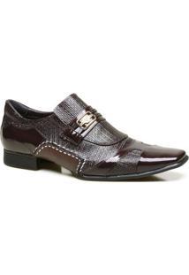 Sapato Social Em Couro Com Textura Chicago Calvest - Masculino-Bordô