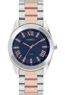 Relógio Euro Roman Shine Bicolor Feminino - Feminino-Rose Gold