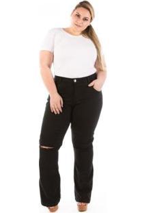 Calça Jeans Flare Com Abertura No Joelho Plus Size Feminina - Feminino-Preto
