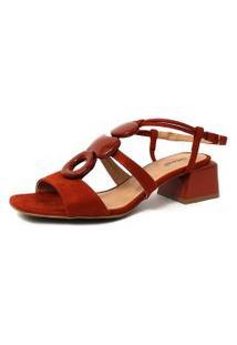 Sandália Damannu Shoes Anita Suede Vermelho Ruggine