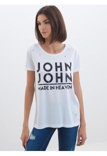 Camiseta John John Logo Malha Off White Feminina (Off White, P)