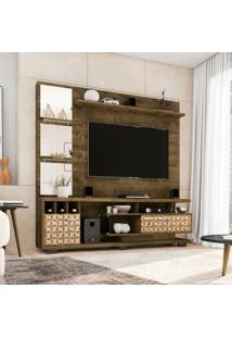 Estante Para Home Theater E Tv 60 Polegadas Tucson Madeira Rústica E Madeira 3D