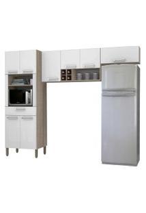 Cozinha Compacta Ametista 8 Portas Composiçáo 2 Nogal/Branco - Kit'S Paraná