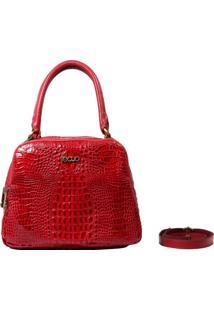 Bolsa Em Couro Recuo Fashion Bag Baú Croco Cereja