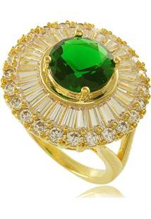 Anel Redondo Com Pedra Verde E Mini Zircônias Cravejadas 3Rs Semijoias Dourado
