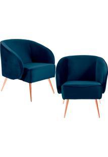 Kit 02 Poltronas Decorativas Fixa Pã©S Palito Metalizado Agnes Veludo Azul Marinho B-287 - Lyam Decor - Azul - Dafiti