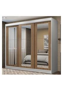 Guarda-Roupa Casal Madesa Kansas 3 Portas De Correr De Espelho 3 Gavetas Branco