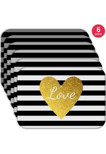 Jogo Americano Love Decor Wevans Love Kit Com 6 Pçs