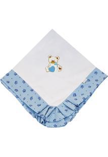 Manta Enxoval Piquet Padroeira Baby Miguel Azul