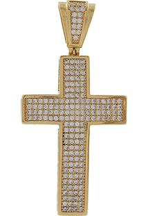 Pingente Narcizza Semijoias Cruz Cravejada Com Zircônia Cristal Ouro - Kanui