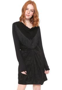 Vestido Desigual Curto Elo Preto