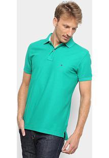 Camisa Polo Tommy Hilfiger Regular Logo Bordado Masculina - Masculino-Verde