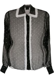 5039ff112 ... Andrea Bogosian Camisa Transparente Estampada - Preto Off White