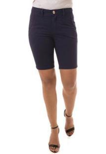 Shorts Jeans Osmoze Mid Rise Middle Feminino - Feminino-Marinho