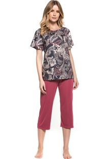 Pijama Inspirate Capri Cashemere Multicolorido