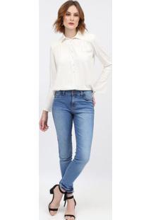 Blusa Texturizada Com Franzidos - Off White - Scalonscalon