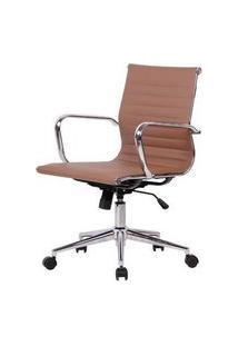 Cadeira Sevilha Eames Baixa Pu Fendi Base Cromada 98Cm - 62975 Sun House