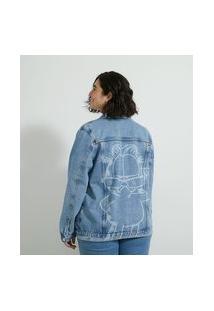 Jaqueta Alongada Jeans Com Estampa Garfield Curve & Plus Size | Ashua Curve E Plus Size | Azul | G