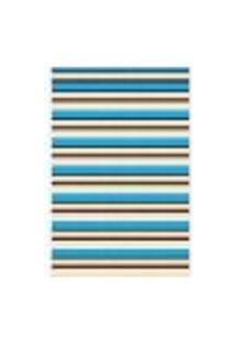 Tapete Saturs Moderno Listrado Azul 100 X 140 Cm Tapete Para Sala E Quarto