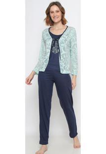 Pijama Floral Com Amarração- Azul Marinho & Verde Claro
