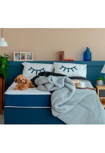 Cama Box Click Queen Com Colchão E Travesseiro Guldi Macio (39X158X198) Azul